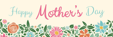 Happy Mother's Day - banner with hand drawn flowers. Vector. Vettoriali
