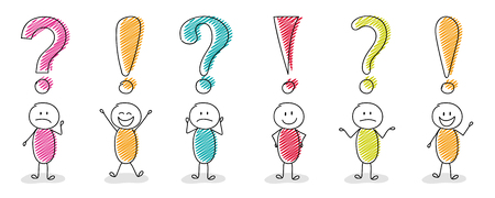 Funny stickmen with question mark and exclamation point icons - big set. Vector. Stock Illustratie