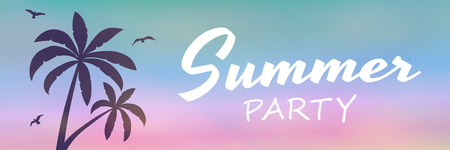 Tropical palm trees on colourful background with text - summer banner. Vector.