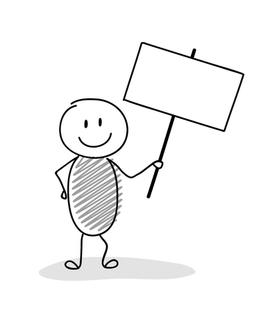 Cartoon stickman with empty banner for a text. Vector. Illustration