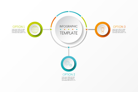 Multicoloured infographic template with business icons and options. Vector.