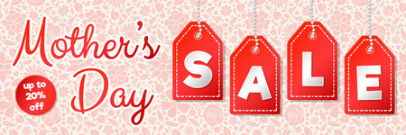 Mother's Day Sale - panoramic banner with floral background. Vector.