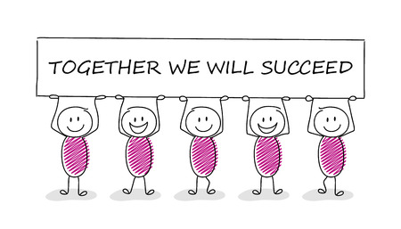 Element for presentation. Stickmen holding a banner with text: together we will succeed. Vector.