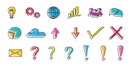 Set of hand drawn business icons vector. Vettoriali