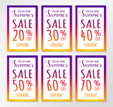 Summer Sale - collection of colourful posters. Vector.