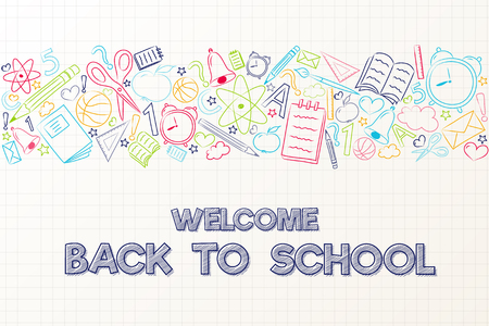 Back to school - cute poster with hand drawn elements. Illustration