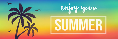 Tropical summer - banner with palm and text. Vector.