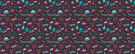 Party background with funny icons. Vector.