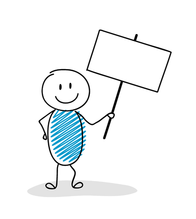 Businness presentation element - funny stickman holding a banner with copyspace. Vector. Illustration