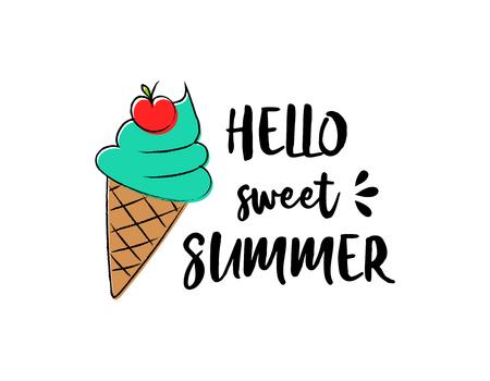Helado. Cartel de verano - icono dibujado a mano con texto divertido. Ilustración de vector