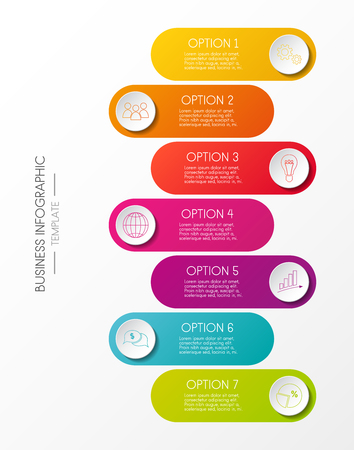 Business infographic colorful graph with business icons vector.