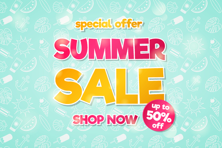 Summer Sale - concept of glossy flyer with special offer. Vector.