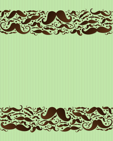 Template of card with funny mustaches - Father's Day and Barber Shop. Vector.