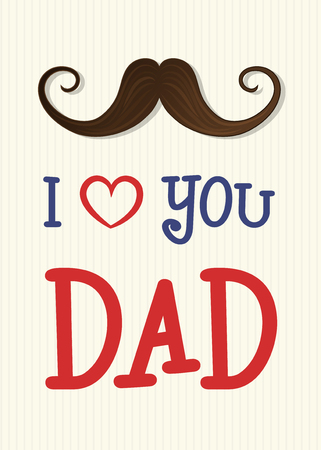 Father's Day - cute card with mustache and wishes. Vector.