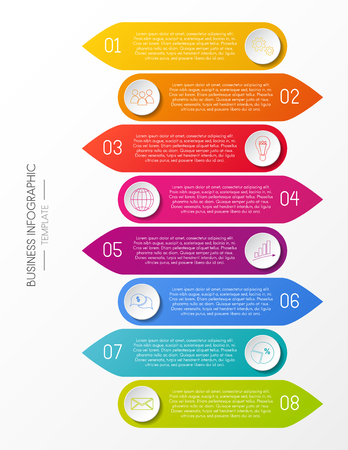 Infografía empresarial con iconos. Vector. Ilustración de vector