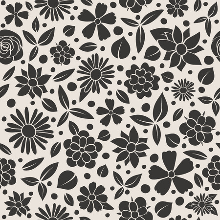 Floral background - seamless pattern with hand drawn flowers. Mother's Day, Woman's Day and Valentine's Day. Illustration