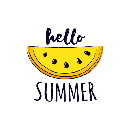 Hello summer. Funny summer element with text - concept of a banner.