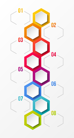 Design of empty infographic layout with hexagonal icons. Illusztráció