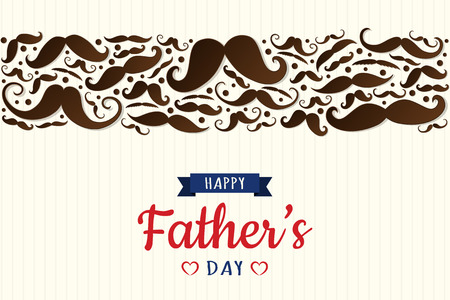 Happy Father's Day - funny poster with set of mustaches. Vector. Illustration