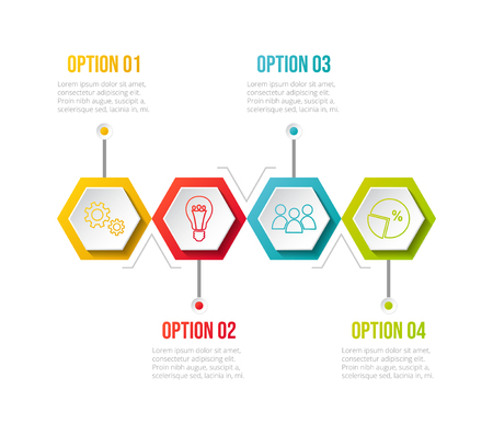 Infographic template with colourful icons. Vector.