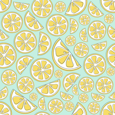 Colourful seamless texture with citruses. Vector.