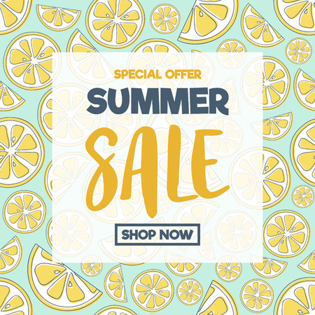 Summer offer - poster for sale with hand drawn oranges. Vector.