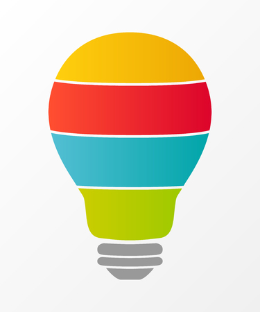 Colourful bulb with options - empty layout with copyspace. Diagram. Vector. Illustration