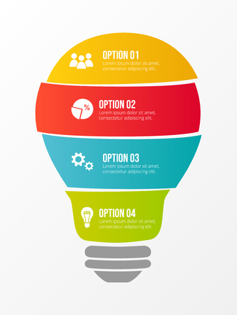 Colourful bulb with business icons - infographic template. Vector.