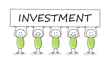 Hand drawn concept of stickman with business text: investment. Vector.