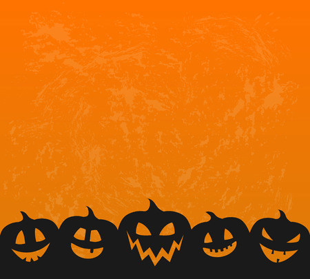 Halloween - concept of background with scary pumpkin lanterns. Vector. Иллюстрация