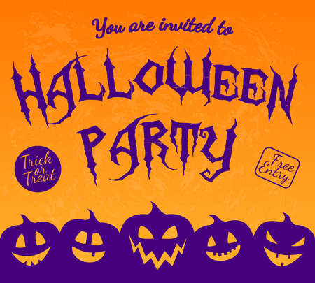 Invitation for Halloween Party with silhouette of pumpkins. Vector.