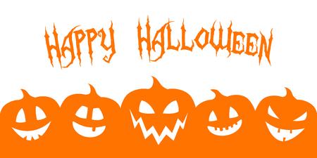 Happy Halloween - banner with silhouette of pumpkins. Vector.