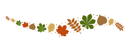 Autumnal leaves - concept of banner. Vector.  イラスト・ベクター素材