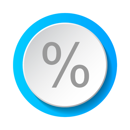 Percent sign - concept of a 3d button. Vector.