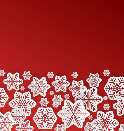 Realistic 3d paper snowflakes on red background - concept of Christmas design. Vector.