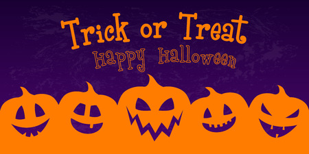 Hallowen - banner with funny lanterns. Vector.
