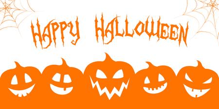 Hallowen - banner with funny lanterns. Vector. 写真素材 - 102731627