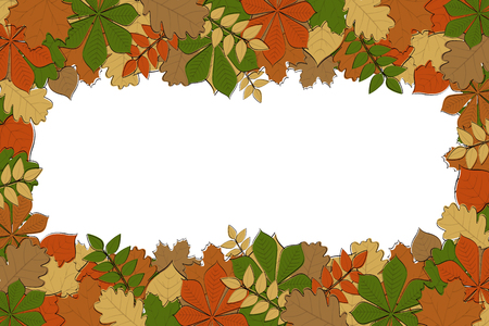 Autumn background with colourful hand drawn leaves. Vector.