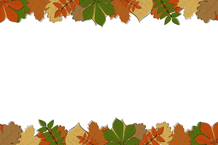 Autumn background with colourful hand drawn leaves. Vector. Illustration