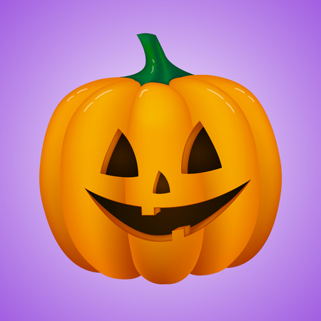 Scary 3d pumpkin isolated on purple background. Vector.