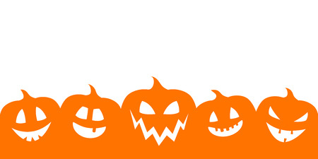Silhouette of pumpkins with copyspace - banner. Vector. 矢量图像
