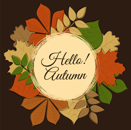 Hello Autumn - poster with leaves. Vector.