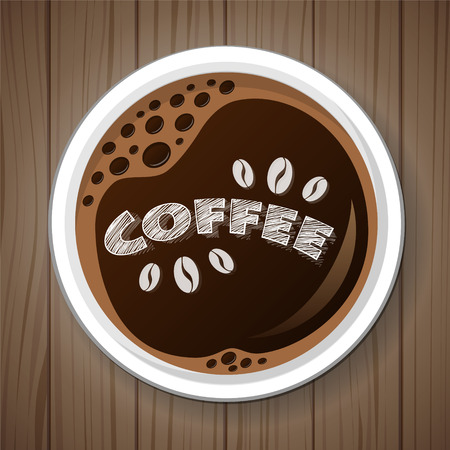 Cup of coffee on wooden retro background. Vector.