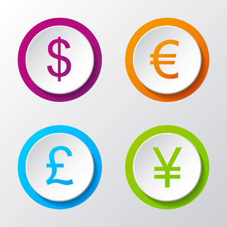 Collection of 3d icons of different currencies. Vector. Vectores