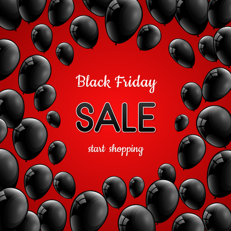 Poster for Black Friday Sale with shiny balloons. Vector. Ilustração