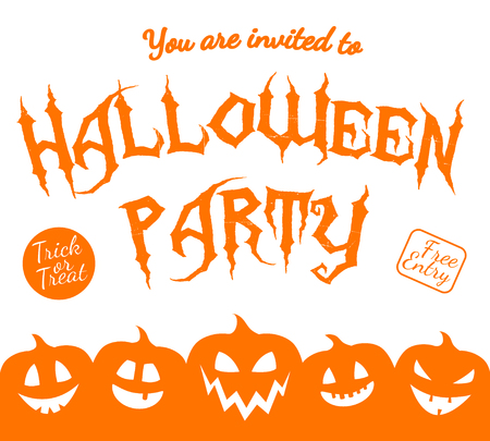 Poster with shadow of pumpkins - invitation for Halloween Party. Vector.