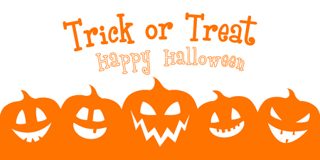 Scary banner for Halloween with funny pumpkin lanterns. Vector.