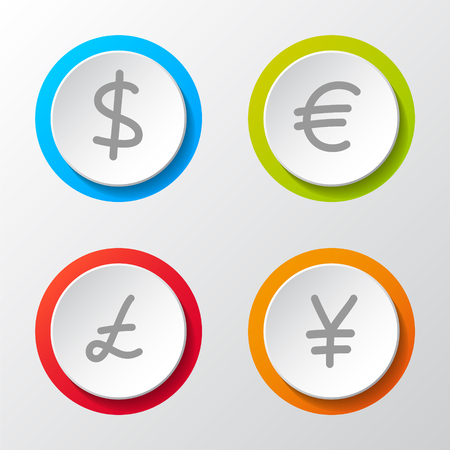 Collection of icons of different currencies. Vector. Vector Illustration