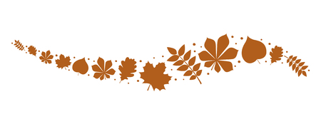 Banner with brown leaves - panoramic header. Vector. Stock Illustratie