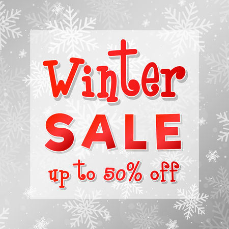 Winter Sale - shiny banner with snowflakes. Vector. Illustration